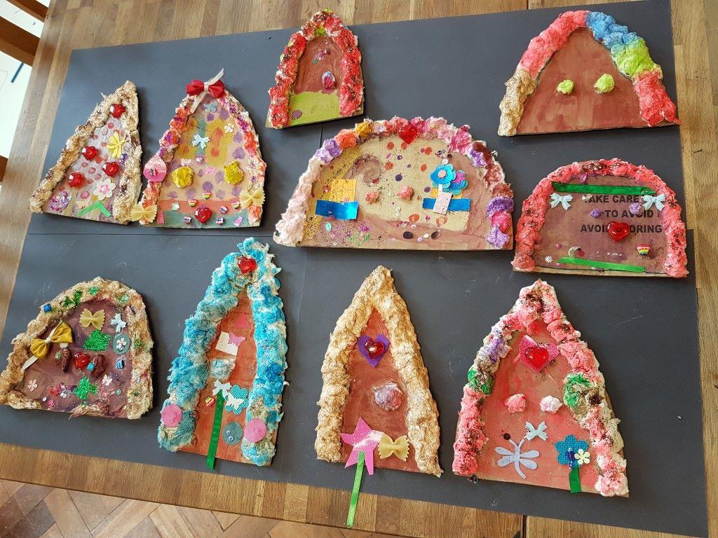 fairy door, paper mache fairy door, fairy, art project for children, art for kids, fairy door to make, art class, summer camp, fairy door painting