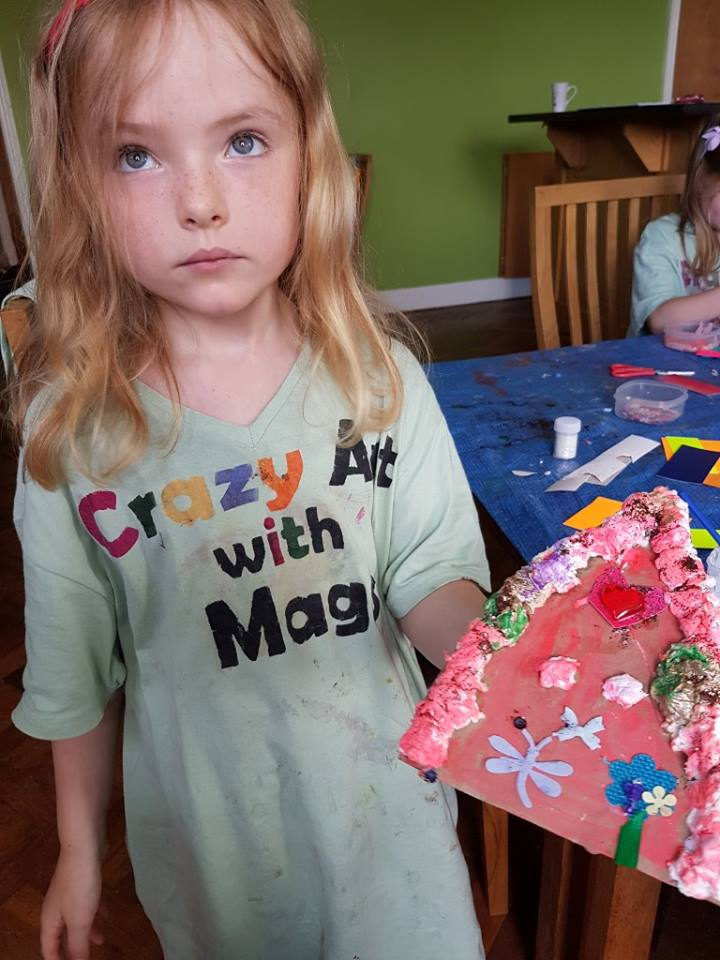 fairy door, paper mache fairy door, fairy, art project for children, art for kids, fairy door to make, art class, summer camp, fairy door painting, crazy art