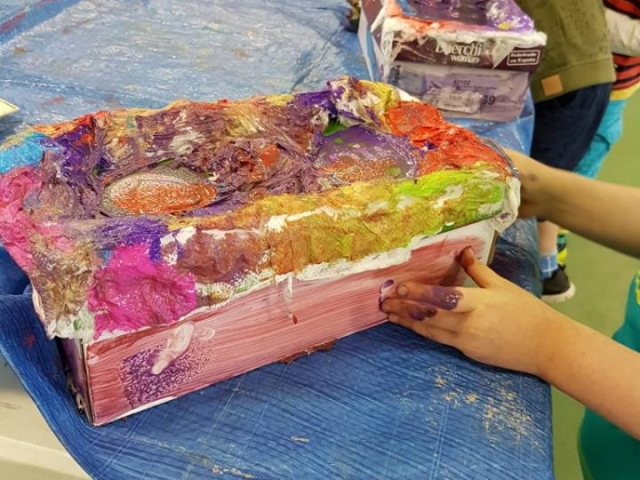 treasure box paper mache, art project for children, art for kids, make and do, art, treasure box painting