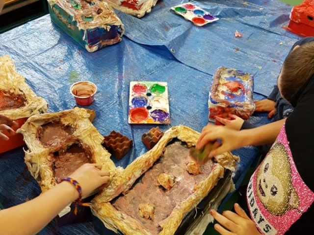 paper mache, treasure box, art project for kids, art class, art camp, summer camp, art activities for children, painting for children, afterschoolers, art after school