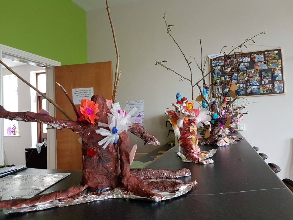 crêpe paper, fairy tree, fairy, kids fairy, art project for school, afterschool, crazy art, summer camp, art classes