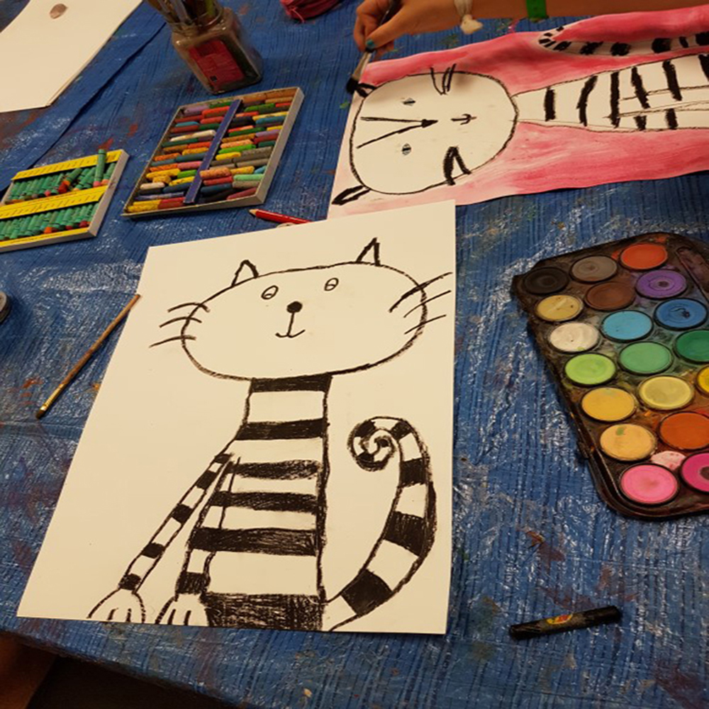 cat, sunglasses, kids art, art project, crazy cat, black and white