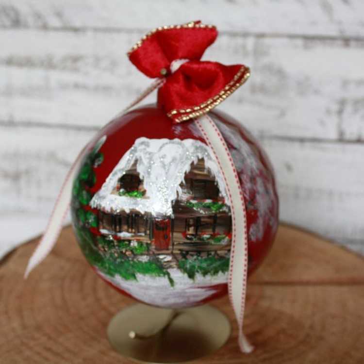 Xmas ornament, hand painted bauble, Christmas ornament