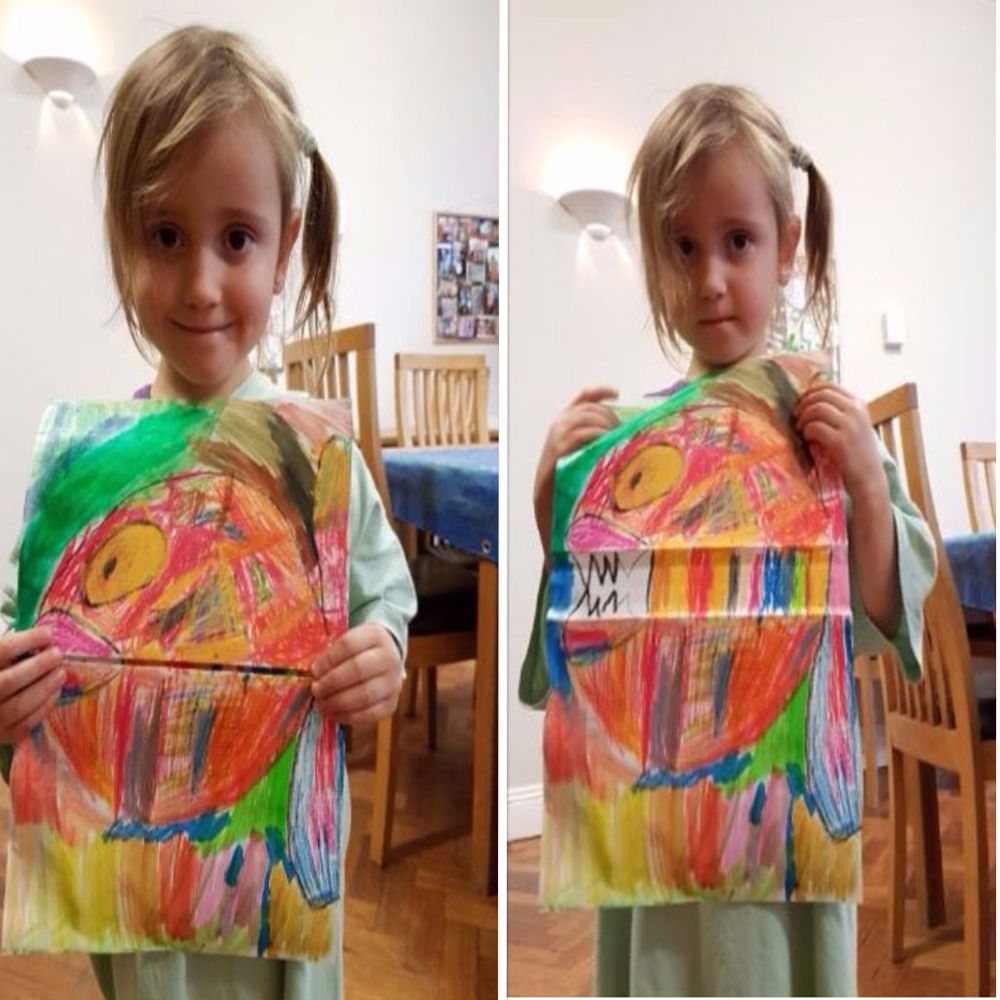 happy, scared, art project for kids, funny art, crazy fishdrawing with oil pastels, water paint