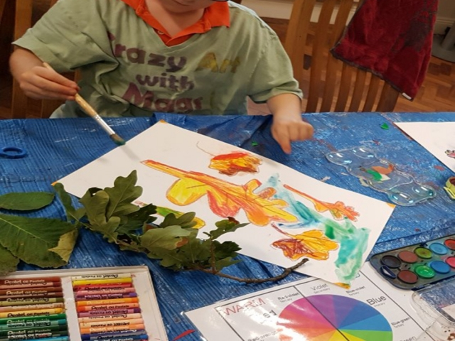 autumn art, leaf, fall, color theory, autumn art project, oil pastels, watercolours,