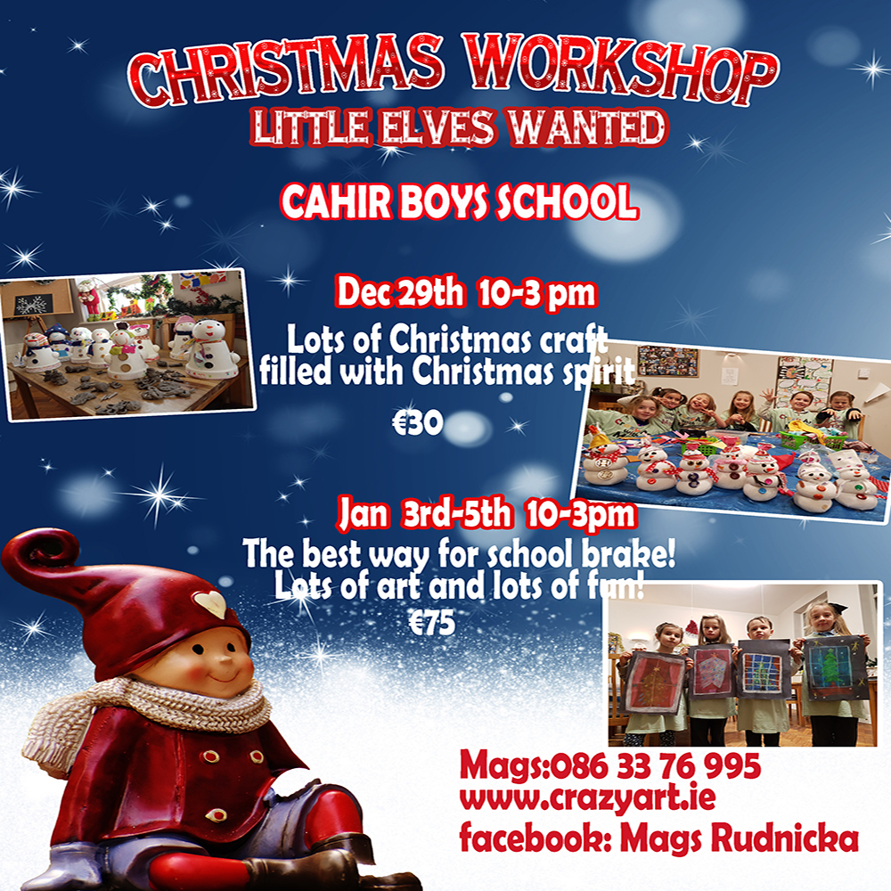 #Xmascamp #Christmascamp #Christmas #Xmas #Christmasactivities#Xmasart #camp #workshop #Christmasgames #Christmastree#Xmasrnament #Santa #Cahir #Tipperarry