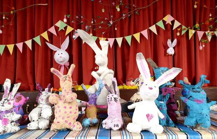 #Easterbunny #Eastercraft # Eastermeadow  #rabbit #Easterrabbit #rabbitpapermache #paper-mache
